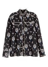 ERDEM X H&M Women's Black Floral Silk Pajama Blouse Size 6 Top Shirt Button Down