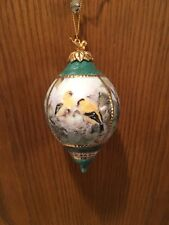 Lena Liu's Porcelain 2 Yellow Hummingbirds W Babies Ornament Bradford Exchange