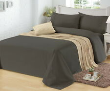 1500TC CVC Cotton Sheet Set Fitted Flat Pillowcase Easy Care All Sizes 10 Colors