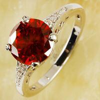 Women's Fashion Gorgeous Garnet & White Topaz Gemstone Fashion Silver Ring Great