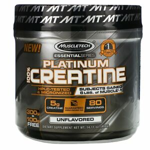 Muscletech, Essential Series, Platinum 100% Creatine, Unflavored, 14.11 oz