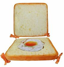 Egg Toast Imitation Seat Cushion w/ Backrest for Office Home Chairs Funny Decor.