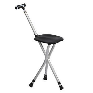 Black Folding Multifunctional Cane Chair Walking Stick with Stool LED Lamp