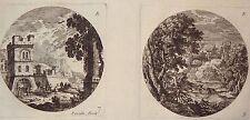 Gravure Etching Incisione Kupferstich PERELLE Paysages Ruines à l'Antique