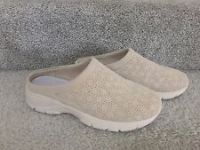 NICE! LANDS' END TAN BEIGE SUEDE SHOES MULES CLOGS - SIZE 7 D WIDE - BARELY WORN