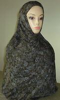 Fancy Hijab 2 Piece Amira Hejab Islam Headscarf Long Floral Design w/Sequins #13