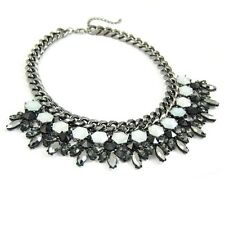 """Plastron """"Chic Hématite"""" Noir & blanc - (Collier gunmetal necklace statement)"""