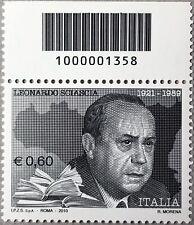 ITALIA 2010 LEONARDO SCIASCIA FRANCOBOLLO NUOVO CON CODICE A BARRE