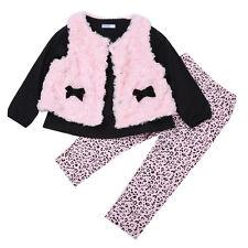 Set 3pcs Soft Baby Girls Clothes Floral T-shirt Tops+Leggings+Vest Beauty Outfit