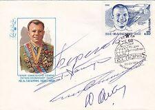 4 x SOVIET COSMONAUT AUTOGRAPHS: Beregovoy, Klimuk, Sarafanov, Artjuhkin /Russia