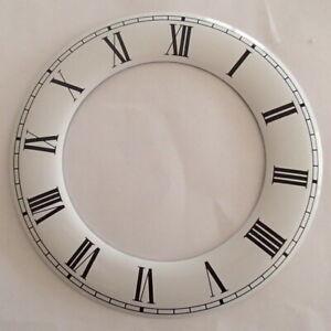 160 mm Aluminium White Hour Ring Clock Dials, Genuine Enamel, Black Roman