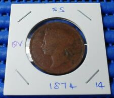 1874 Straits Settlements Queen  Victoria One Cent Coin