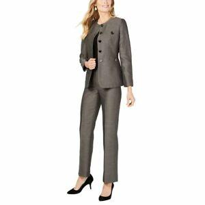 LE SUIT NEW Women's Button Detail Collarless Pantsuit Two-Piece TEDO