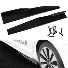 Pair 74.5cm Car black Side Skirts Rocker Splitters Diffuser Winglet Wings