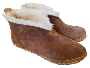 LL BEAN Women's 10 Wicked Good Slippers Bootie Boot Lambswool Suede Shearling 10