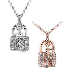 Strass Halskette Schloss mit Schlüssel gold silber Anhänger Kristall Liebe Herz