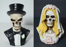 2- Love Never Dies Wedding Skeleton Cake Topper-Bride-Groom-Halloween-Figurines