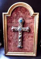 RARE Antique-FRENCH-Ceramic-Majolica-Crucifix-Cross-Christ