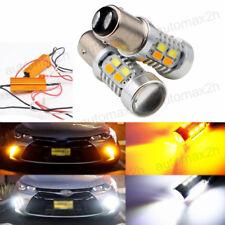 2x 20W Amber White 1157 LED Light Bulbs Switchback Turn Signal Brake H01