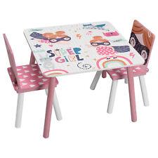 Kindersitzgruppe Kindertisch mit 2 Stühle Kinder Möbelset Maltisch Rosa MDF