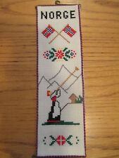 "Norway NORGE Counted Cross-Stitch Complete Kit ~3x11"" Aida/Pattern/Hangers/Floss"