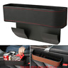 Black PU Leather Car Seat Gap Catcher Filler Storage Box Pocket Organizer Holder