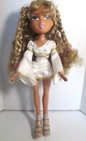 BRATZ DOLL CURLY LONG BLONDE HAIR WHITE SKIRT & TOP & WINGS