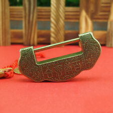 Chinese Vintage Antique Old Style Brass Carved Word Padlock Lock/key