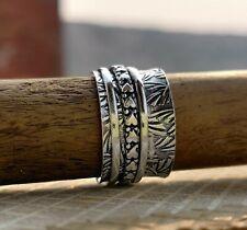 925 Sterling Silver Spinner Ring Meditation Ring Love Ring Size 10 KR042