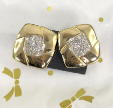 VINTAGE GOLD SQUARE RHINESTONES CLIP EARRINGS FROM JAPAN