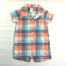 Carters Infant Boys Mommys Hunk Orange Creeper /& Brown Plaid Shorts Set 6m
