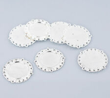 4pcs dark silver color floral rim  round cabochon setting in 20mm EF3241