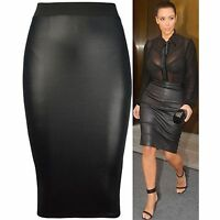 WOMENS FAUX LEATHER PENCIL BODYCON WET LOOK HIGH WAISTED MIDI SKIRT UK SIZE 8-22