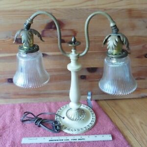 Vintage Lightolier Double Goose Neck Table Lamp Glass Shade Cast Iron Wood Brass