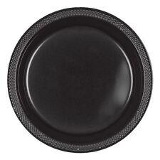 20 Plastic Plate 9in 23cm Jet Black Colour Wedding Birthday Tableware Party