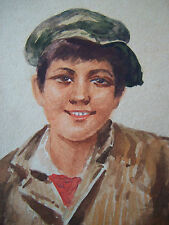 Antique Watercolor Portrait - Indistinctly Signed - Malta - Early 20th Century