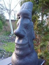 Moai-Black Edition-Tiki-Osterinsel-Skulptur-49 cm-Steinguss-Frostfest-Garten