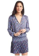 GAP Women Dress L Blue Mixed Floral Print Long Sleeve Neck Tie Pleated Smocked