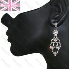 CRYSTAL CHANDELIER EARRINGS sparkly glass rhinestone SILVER TONE vintage style