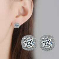 925 Sterling Silver Shiny Zircon Square Ear Stud Earrings Fine Elegant Jewelry