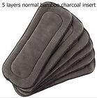 1PC Reusable 5 Layers Bamboo Charcoal Insert Baby Cloth Diaper Nappy Use New