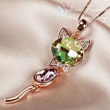 18K Rose Gold Filled Made With Swarovski Crystal Extra Sparkling Cat Necklace