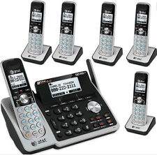 AT&T 2 Line Telephone Answering Machine System 6 Cordless Phones TL88102 5 88002