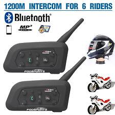 2x 1200M Bluetooth Moto Casco Interfono Intercom Cuffie Auricolari 6motociclisti