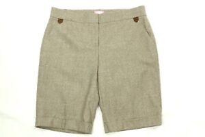BluGirl Women's Brown herringbone Wool Blend Bermuda Shorts Size 44 (8 US)