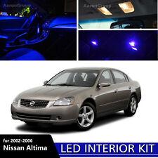 9PCS Blue LED Interior Light for 2002-2004 Nissan Altima White for license