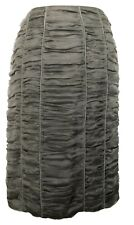 BURBERRY GRAY RUCHED PENCIL SKIRT, 40, $795
