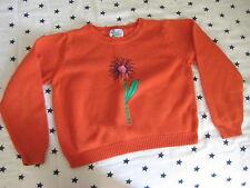 Lilly Pulitzer orange SWEATER 8 kids flower cotton cardigan green pink shirt