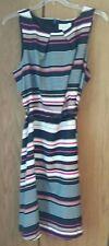 "NWT ELLE ""CELINE"" Striped Sleeveless Dress,Size XL with skinny belt"