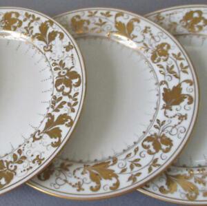 """4 Vintage LE TALLEC Paris Porcelain 6"""" Bread Plates MARIN in Gold w GILT Paste"""